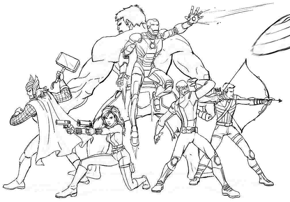 1008x702 Avengers Characters Free Coloring Page Avengers, Kids