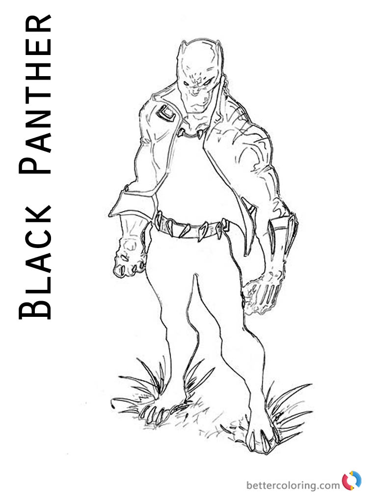 768x1024 Black Panther Coloring Pages From Marvel