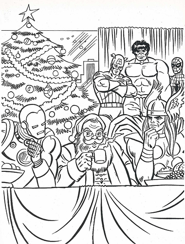 380x500 Marvel Coloring Pages For Christmas