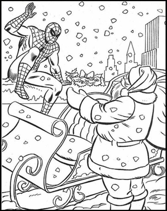 580x731 Spiderman Christmas With Santa Coloring Picture For Kids