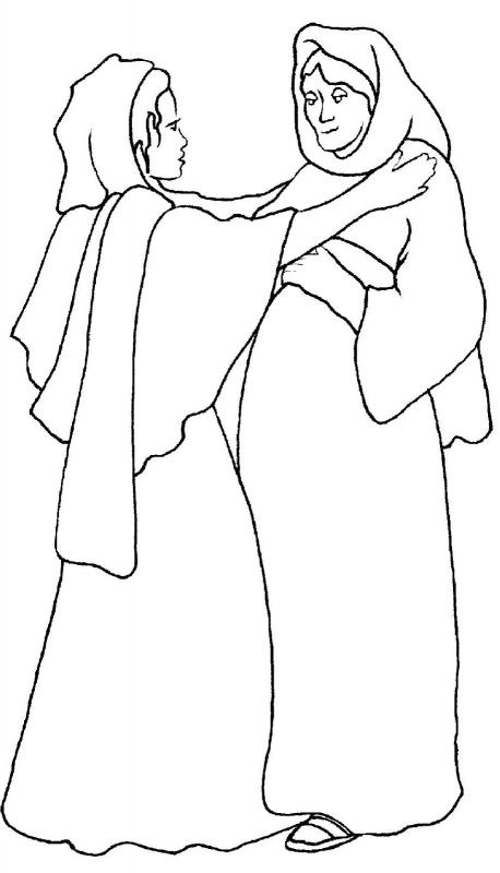 458x800 Mary Visits Elizabeth Coloring Page Coloring Pages Kids Collection