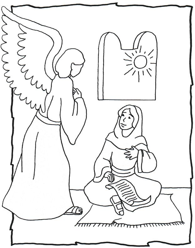 623x791 Angel Gabriel Visits Mary Coloring Page