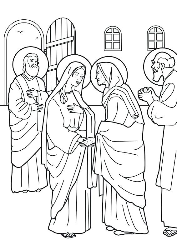 566x800 Mary Visits Elizabeth Coloring Page Virgin Visit To Coloring Pages