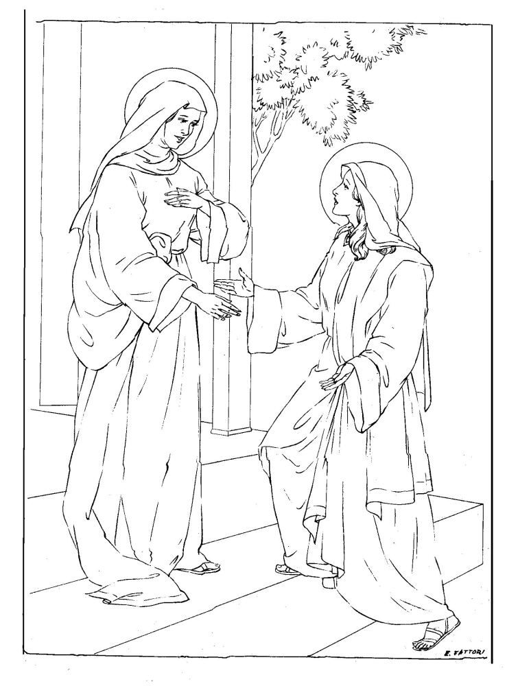 739x1000 Visitation Coloring Page Mary, Sunday School And Catholic Crafts