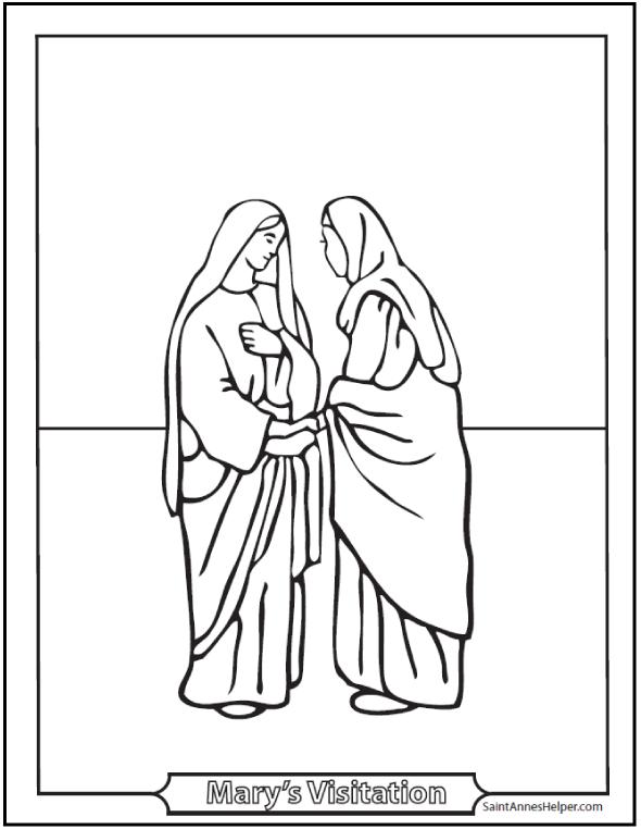 590x762 Visitation Coloring Page Mary Visits Elizabeth
