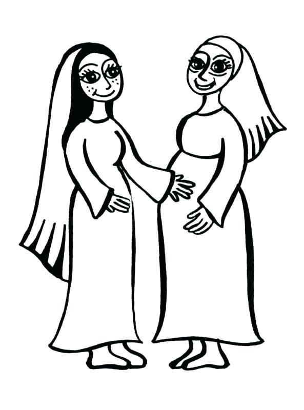 593x800 Mary And Elizabeth Coloring Pages Vonsurroquenme Bible Coloring