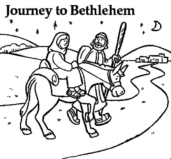600x561 Mary And The Donkey And Joseph Journey To Bethlehem Coloring Pages