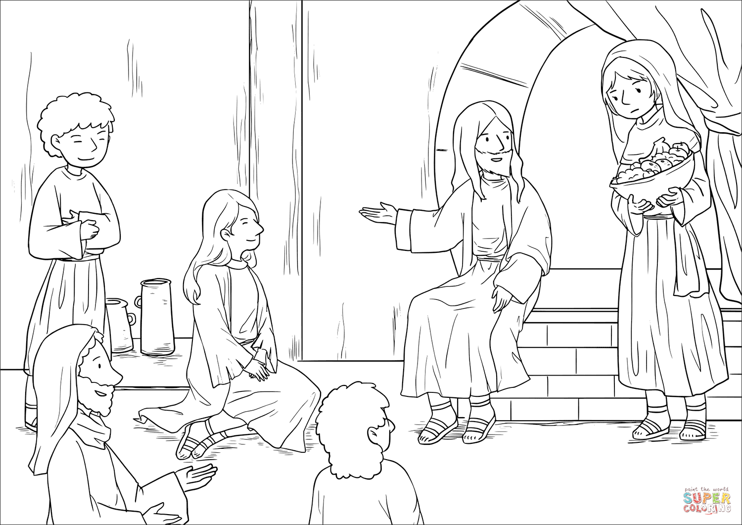 1500x1061 Jesus At The Home Of Martha And Mary Luke Coloring Page