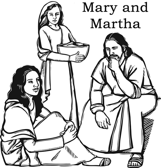 551x576 Jesus With Mary And Martha Color Page
