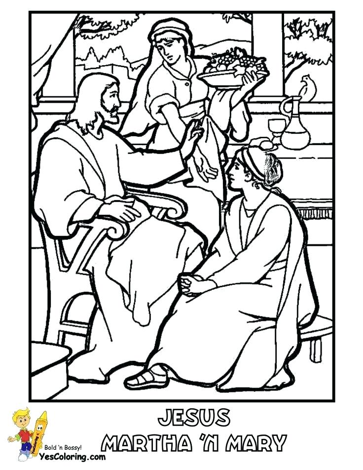 736x952 Mary And Martha Coloring Page