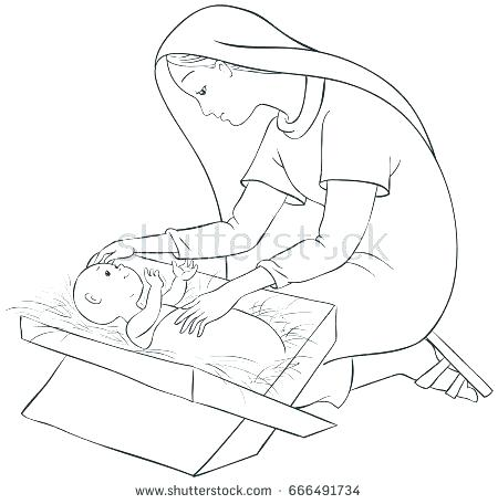 450x456 Mary And Martha Coloring Page Coloring Pages Mother Child Manger