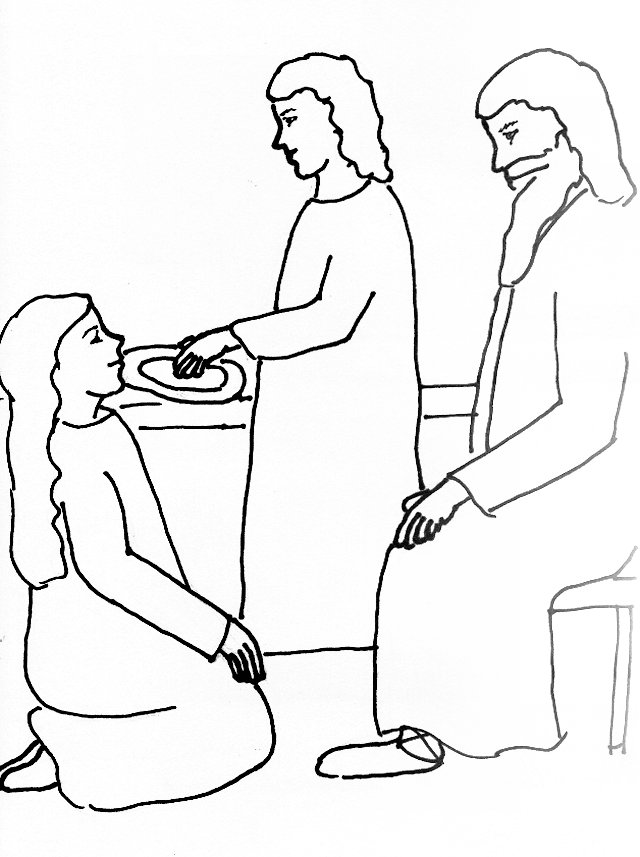 640x857 Bible Story Coloring Page For Jesus, Martha And Mary Free Bible