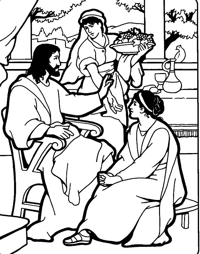 640x813 Mary And Martha Coloring Pages