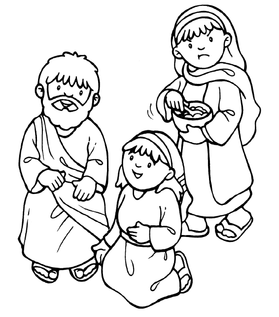 566x642 Mary And Martha Coloring Page