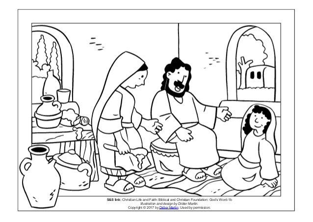 638x452 Coloring Page Meals With Jesus Martha And Mary