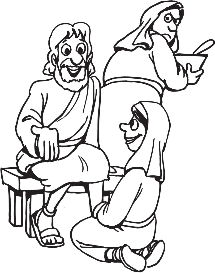 910x1152 Download Stylish Mary And Martha Coloring Page For Free