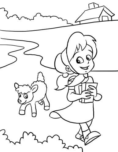 386x500 Mary Had A Little Lamb Coloring Page