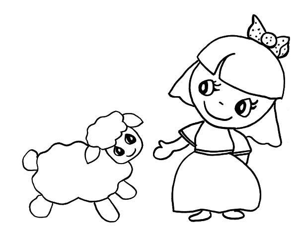 600x464 Mary Had A Little Lamb Coloring Page Cartoon Of Mary Had A Little