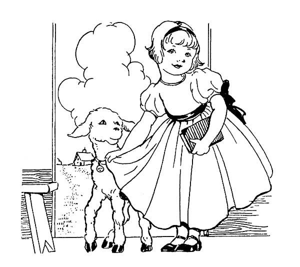 600x534 Beautiful Mary Had A Little Lamb Coloring Pages Color Luna