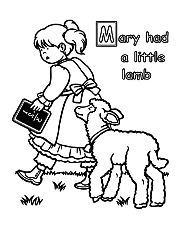 600x753 Mary Had A Little Lamb Coloring Pages For Kids Color Luna