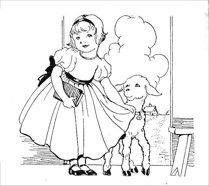 709x631 Mary Had A Little Lamb Coloring Pages