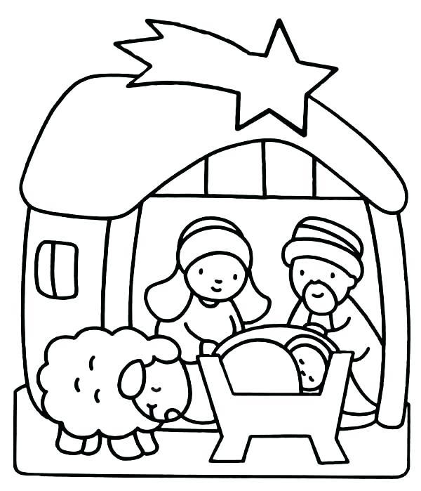 600x699 Cartoon Mary Joseph Baby Jesus Coloring Page For Baby Jesus