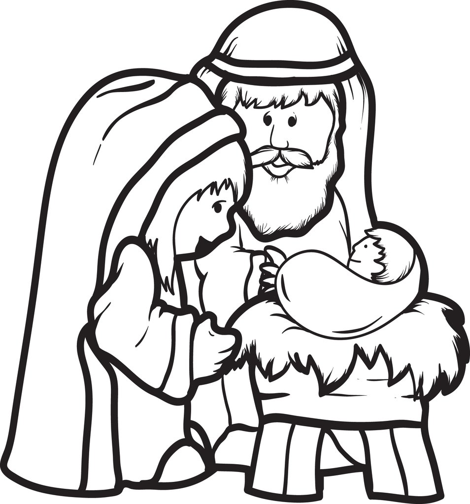 954x1024 Free Printable Mary, Joseph, Baby Jesus Coloring Page For Kids