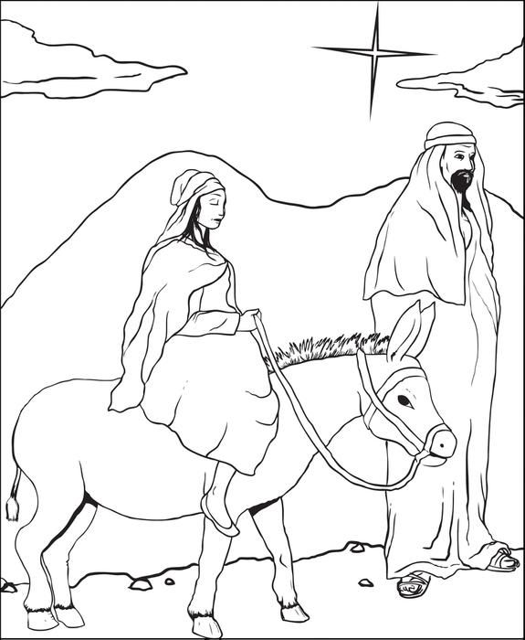 575x700 Free Printable Mary And Joseph Christmas Coloring Page For Kids