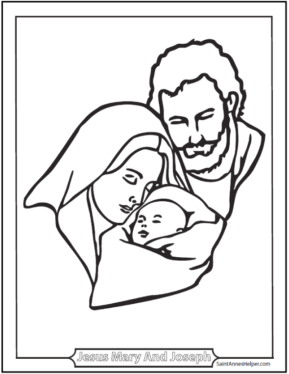 590x762 Joseph, Mary, And Jesus Coloring Page