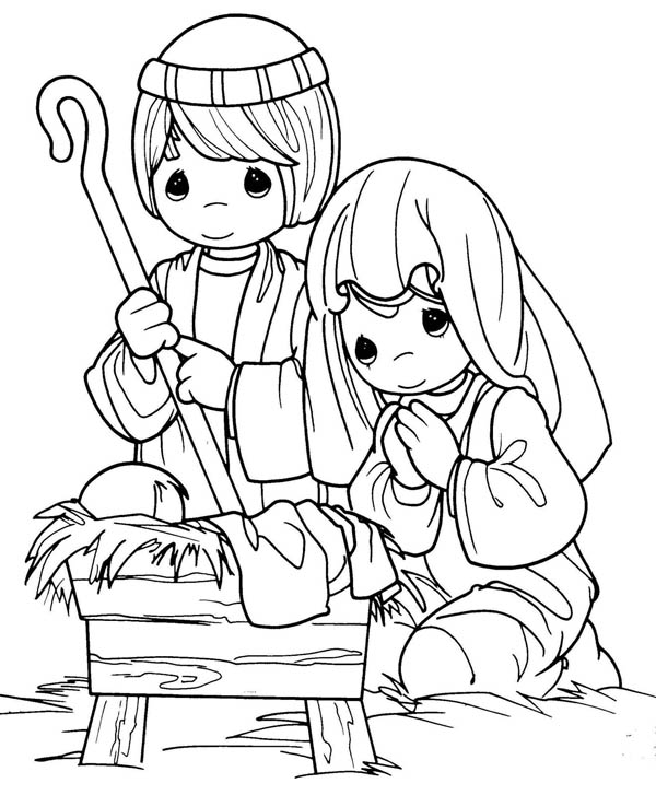 600x727 Joseph And Mary In Jesus Christ Nativity Coloring Page Color Luna