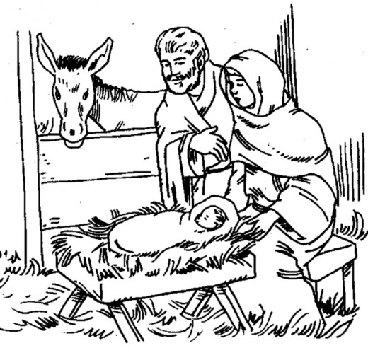520x492 Nativity Coloring Page