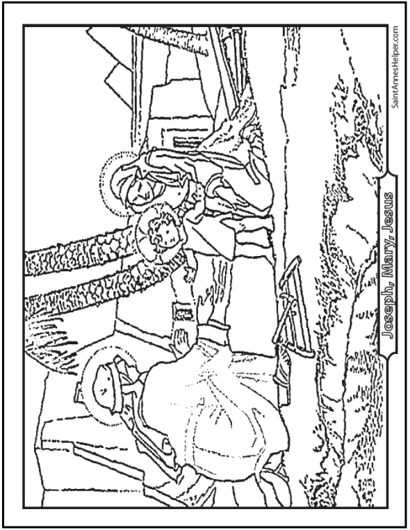 590x762 Baby Jesus Coloring Page Home With Joseph And Mary