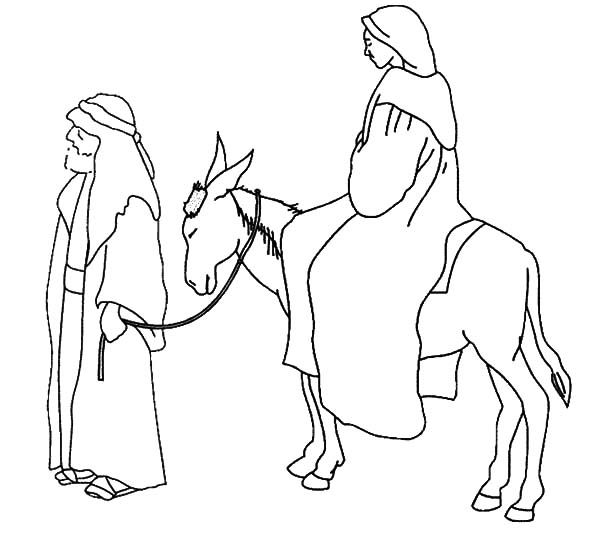 600x534 Cartoon Mary Joseph And The Donkey Lds Coloring Page