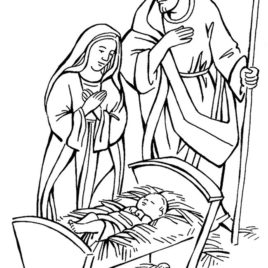 268x268 Coloring Page Mary Joseph Baby Jesus Archives