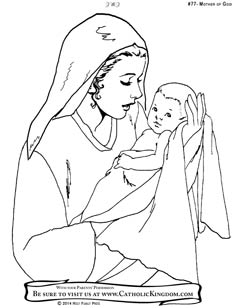 246x308 Mary, Mother Of Jesus Catholic Coloring Page For Kids To Colour