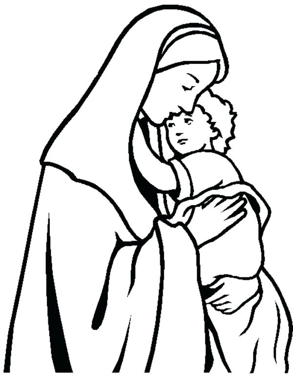 600x768 Mary And Jesus Coloring Page