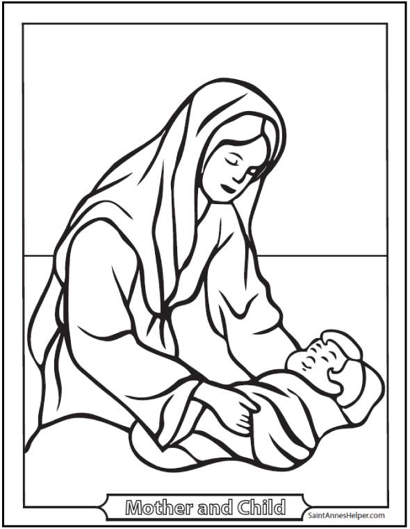 590x762 Mary Mother Of Jesus Coloring Pages Mothers Day Coloring Pages