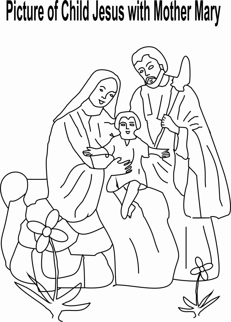 789x1100 Child Jesus With Mother Mary Coloring Page