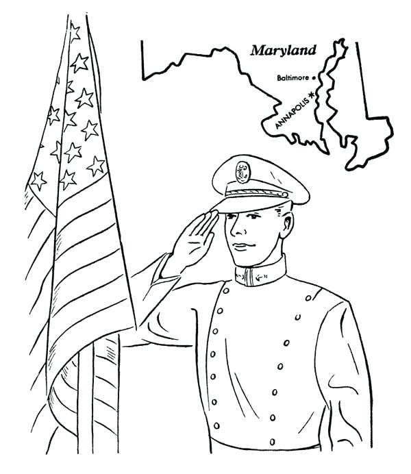600x692 Maryland Coloring Pages Us Naval Academy In Celebrating Veterans
