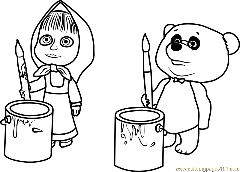 800x575 Masha And Panda Coloring Page