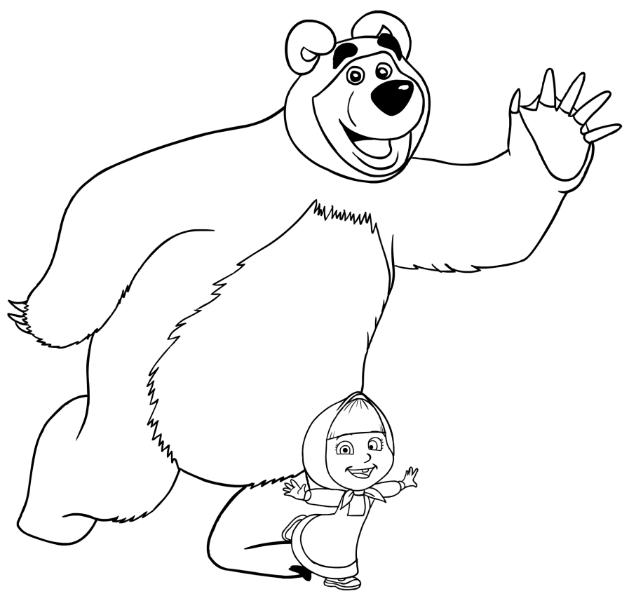 897x850 Masha And The Bear Coloring Page