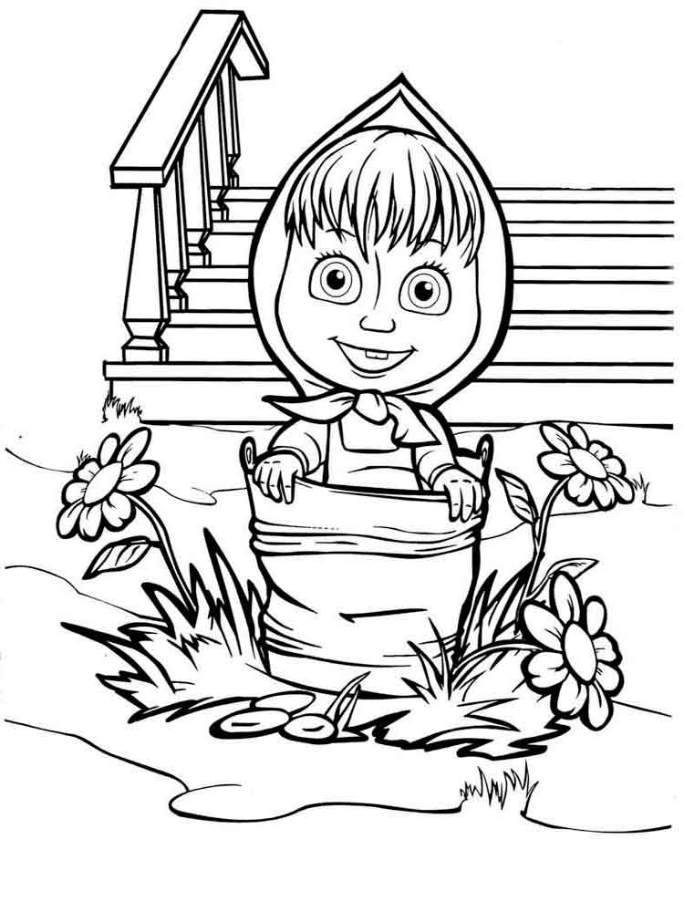 750x1000 Masha The Bear Coloring Pages Download Print Mascha