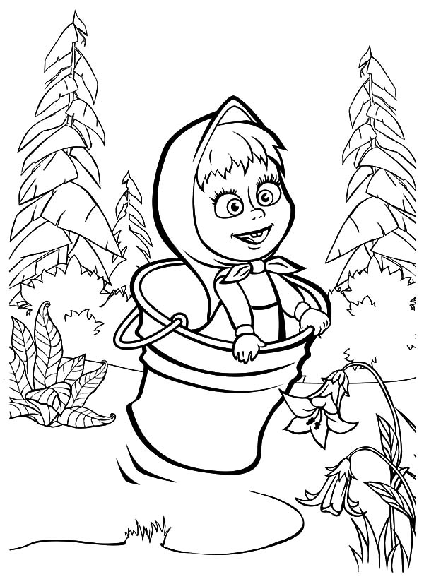 600x827 Masha And The Bear Jumping On Bucket Coloring Pages Color Luna