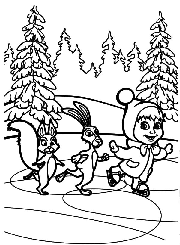 600x814 Masha And The Bear Skiing In Winter Season Coloring Pages Color Luna