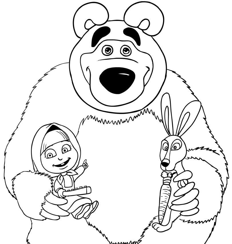 811x850 Masha, Bear And Rabbit Coloring Page Printable