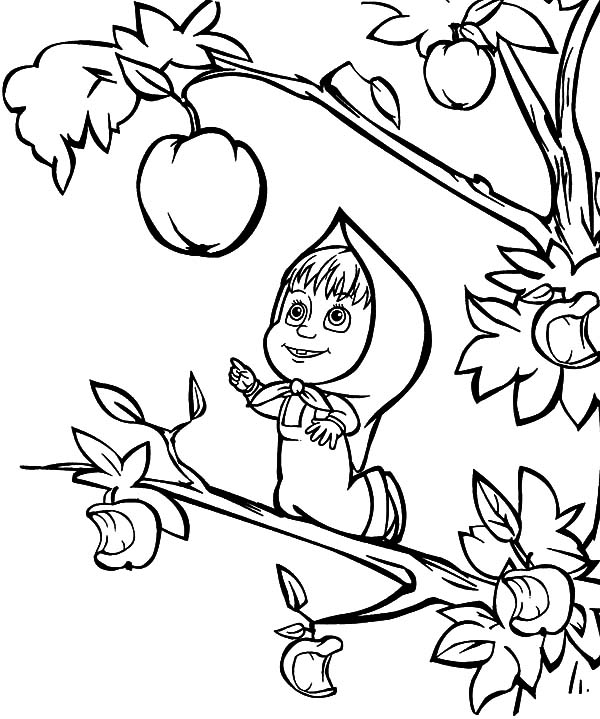 600x719 Masha And The Bear Coloring Pages