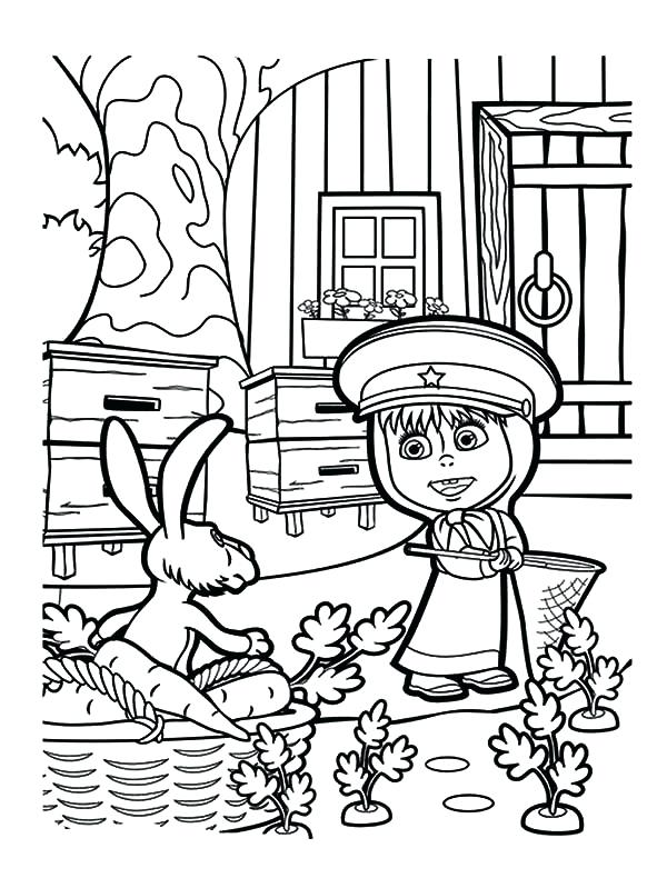 600x790 Masha Coloring Pages And The Bear Rabbit Caught In The Act