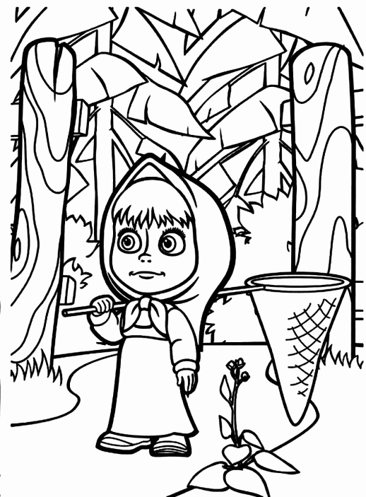 518x703 Masha Coloring Pages Gallery Masha Is Going To Catch Butterfly