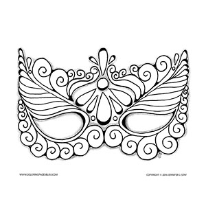 300x300 Halloween Coloring Pages Masquerade Masks, Colored Pencils