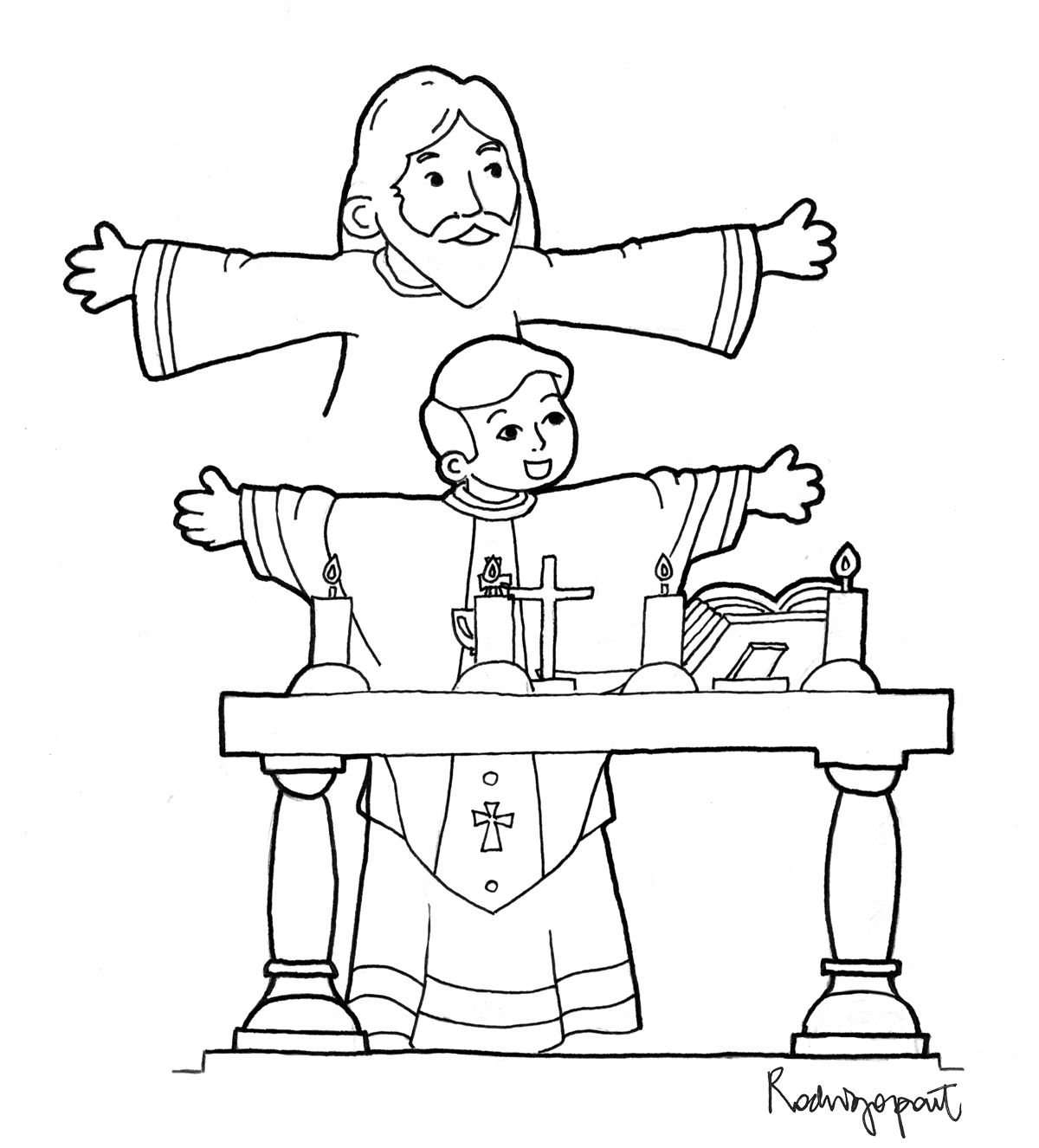 1200x1326 Coloring Page Of Priest Celebrating Mass Sunday School Crafts